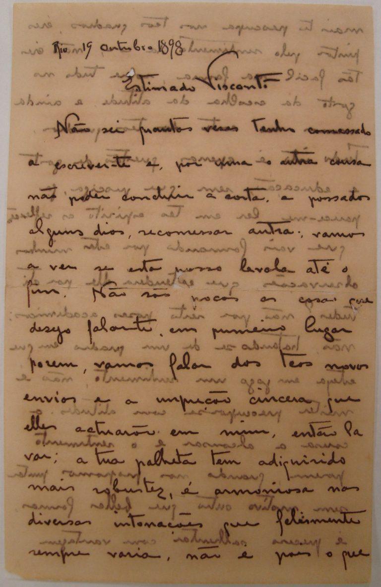 CARTA DE H. BERNARDELLI A VISCONTI - 19 OUT 1898 - 1ª PÁGINA