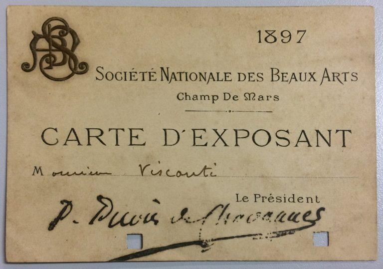 CARTÃO DE EXPOSITOR NO SALON DE LA SOCIÉTÉ NATIONALE DES BEAUX ARTS – 1897