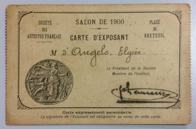 CARTÃO DE EXPOSITOR NO SALON DE LA SOCIÉTÉ DES ARTISTES FRANÇAIS – 1900