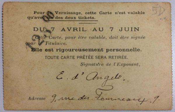 CARTÃO DE EXPOSITOR NO SALON DE LA SOCIÉTÉ DES ARTISTES FRANÇAIS – 1900 - verso