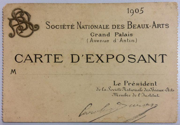 CARTÃO DE EXPOSITOR DE VISCONTI NA SOCIETÉ NATIONALE DES BEAUX-ARTS – 1905