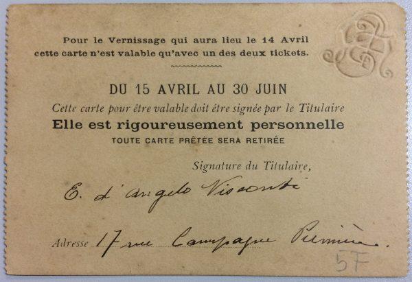 CARTÃO DE EXPOSITOR DE VISCONTI NA SOCIETÉ NATIONALE DES BEAUX-ARTS – 1905 - verso