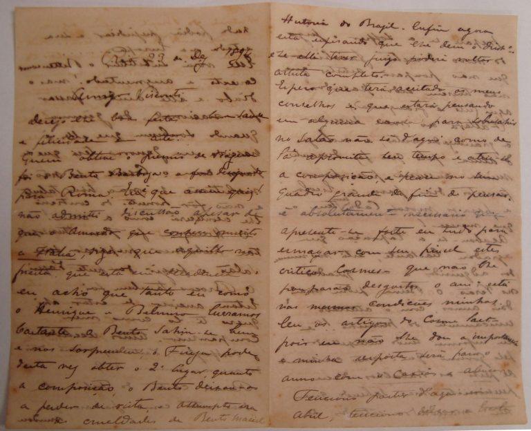 CARTA DE RODOLPHO BERNARDELLI A VISCONTI EM 23/12/1894 - PÁGINAS 1 e 2