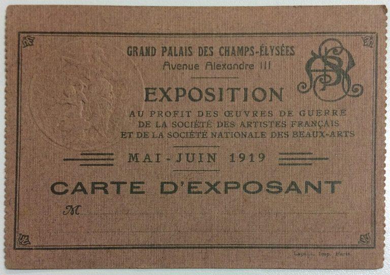 CARTÃO DE EXPOSITOR DE VISCONTI NO SALON DE LA EXPOSITION AU PROFIT DES OEVRES DE GUERRE - 1919