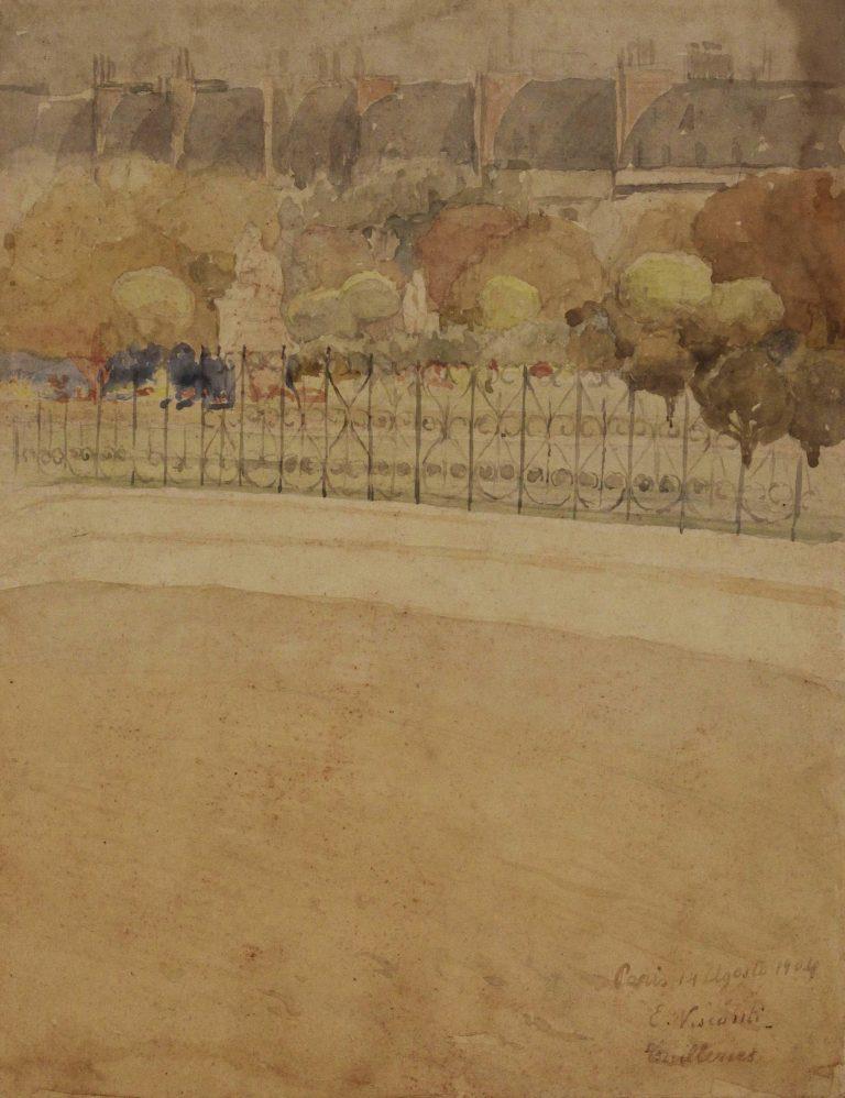 JARDIN DES TUILERIES - AQUARELA S/ PAPEL - 29 x 23 cm - 1904 - COLEÇÃO PARTICULAR