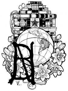 EMBLEMA DA BIBLIOTECA NACIONAL - NANQUIM E GUACHE/PAPEL - 46 x 34 cm - 1903 - FUNDAÇÃO BIBLIOTECA NACIONAL - RIO DE JANEIRO - RJ