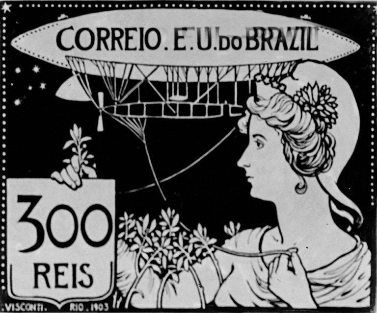 A AERONÁUTICA - PROJETO PARA SELO INTEGRANTE DA COLEÇÃO VENCEDORA DO CONCURSO DOS CORREIOS DE 1904 - NANQUIM E GUACHE/PAPEL - c.1903 - LOCALIZAÇÃO DESCONHECIDA