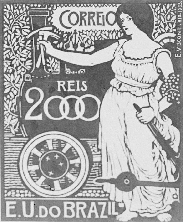 A ENGENHARIA - PROJETO PARA SELO INTEGRANTE DA COLEÇÃO VENCEDORA DO CONCURSO DOS CORREIOS DE 1904 - NANQUIM E GUACHE/PAPEL - c.1903 - LOCALIZAÇÃO DESCONHECIDA