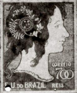 A MULHER BRASILEIRA - PROJETO PARA SELO INTEGRANTE DA COLEÇÃO VENCEDORA DO CONCURSO DOS CORREIOS DE 1904 - NANQUIM E GUACHE/PAPEL - c.1903 - LOCALIZAÇÃO DESCONHECIDA