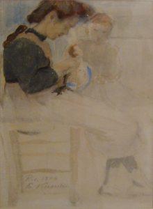 MENINA COM BONECA - AQUARELA - 24 x 15 cm - 1906 - COLEÇÃO PARTICULAR