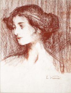 PERFIL - SANGUÍNEA - 35 x 26 cm - c.1900 - COLEÇÃO PARTICULAR