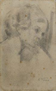CABEÇA FEMININA - CARVÃO S/ PAPEL - 42 x 26 cm - c.1900 - COLEÇÃO PARTICULAR
