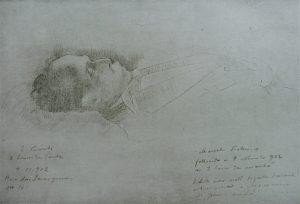 PRESIDENTE MANOEL VICTORINO EM SEU LEITO DE MORTE - LÁPIS/PAPEL - 1902 - LOCALIZAÇÃO DESCONHECIDA