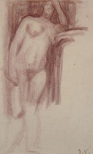 NU FEMININO - SANGUÍNEA - 42,5 x 26,5 cm - c.1898 - COLEÇÃO PARTICULAR