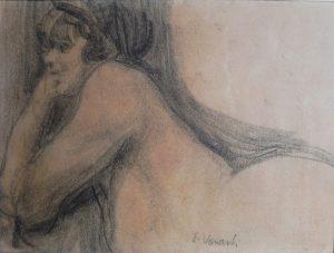 MULHER DE BRUÇOS - CARVÃO S/ PAPEL - 26 x 43 cm - c.1897 - COLEÇÃO PARTICULAR
