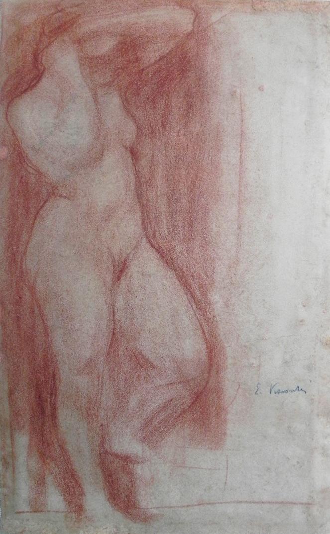 NU FEMININO DE PÉ - SANGUÍNEA - 42,5 x 26,5 cm - c.1898 - COLEÇÃO PARTICULAR