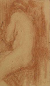 NU DE COSTAS - SANGUÍNEA - 42,5 x 25,0 cm - c.1898 - COLEÇÃO PARTICULAR