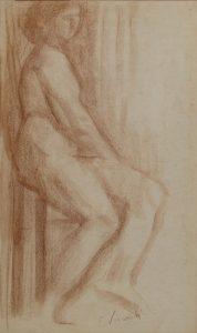 NU SENTADO - SANGUÍNEA - 41,5 x 25,0 cm - c.1896 - COLEÇÃO PARTICULAR