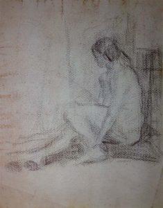 NU FEMININO SENTADO - CRAYON SOBRE PAPEL - 31 x 24 cm - c.1900 - COLEÇÃO PARTICULAR