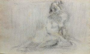 NU FEMININO SENTADO - CRAYON SOBRE PAPEL - 26 x 43 cm - c.1900 - COLEÇÃO PARTICULAR
