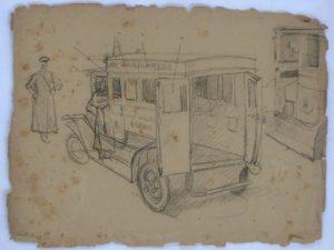 AMBULÂNCIA - ESTUDO PARA O TRÍPTICO DA CÂMARA MUNICIPAL - PALÁCIO PEDRO ERNESTO - CRAYON S/ PAPEL - 23 x 31 cm - c.1920 - COLEÇÃO PARTICULAR