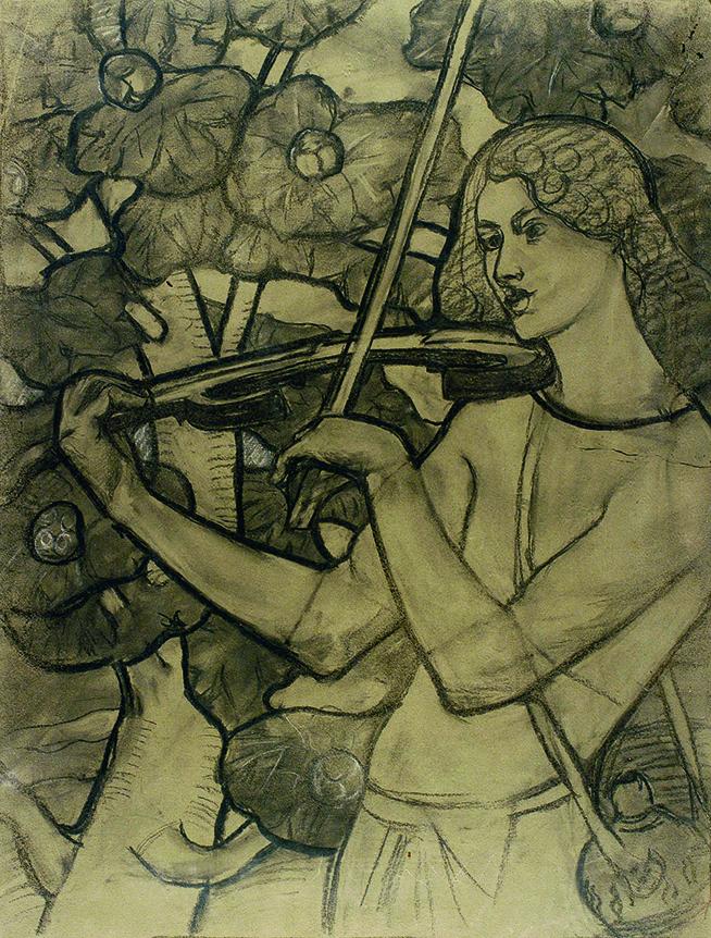 A MÚSICA - ESTUDO PARA VITRAL - CARVÃO/PAPEL - 59 x 45 cm - c.1898 - COLEÇÃO PARTICULAR