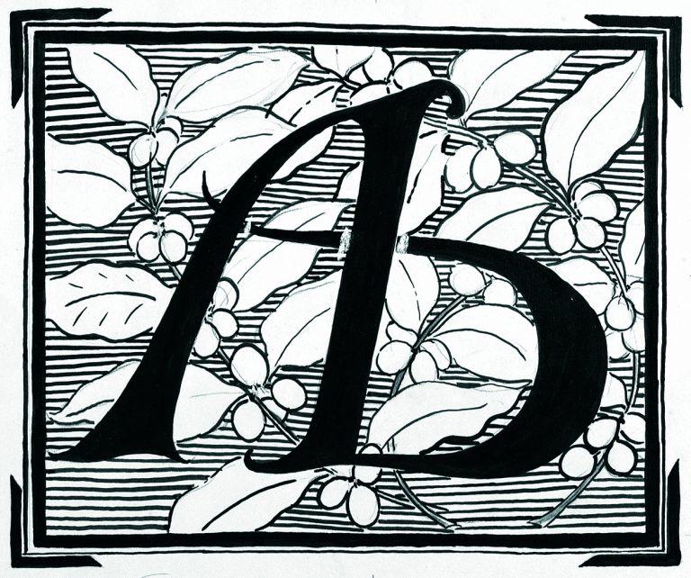 ARTE BRASILEIRA - ESTUDO PARA LOGOMARCA - NANQUIM/PAPEL - 30 x 40 cm - c.1902 - COLEÇÃO PARTICULAR