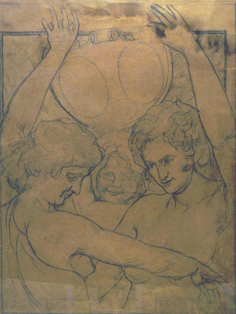 FIGURAS ENTRELAÇADAS - ESTUDO PARA ILUSTRAÇÃO DE JORNAL - CRAYON/PAPEL - 60 x 45 cm - c.1903 - COLEÇÃO PARTICULAR