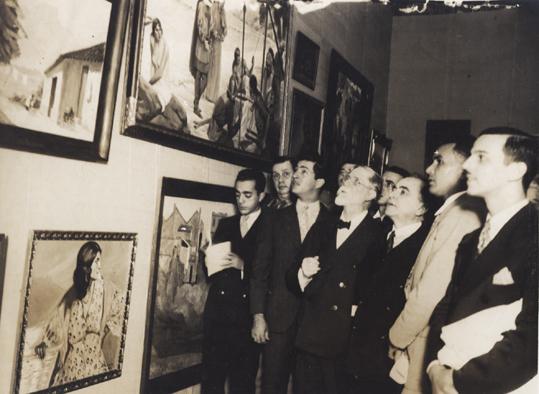Visconti com Getúlio no salão da Escola de Belas Artes de 1934