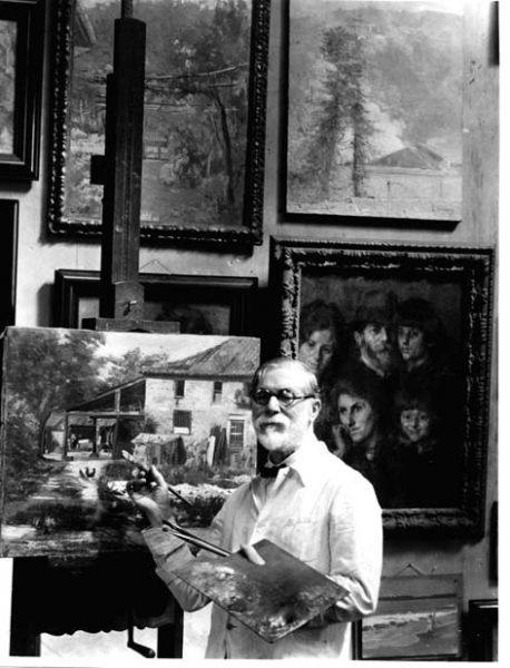 Eliseu Visconti pintando no atelier
