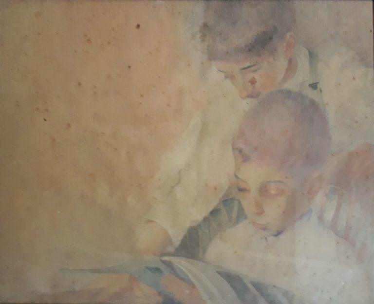 MEUS SOBRINHOS ÂNGELO E ELISEU SCARPA - AQUARELA - 44,0 x 61,0 cm - 1904 - COLEÇÃO PARTICULAR