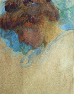 LOUISE - AQUARELA - 32 x 25 cm - c.1910 - COLEÇÃO PARTICULAR
