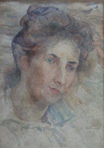 LOUISE - AQUARELA - 34 x 25 cm - 1907 - COLEÇÃO PARTICULAR