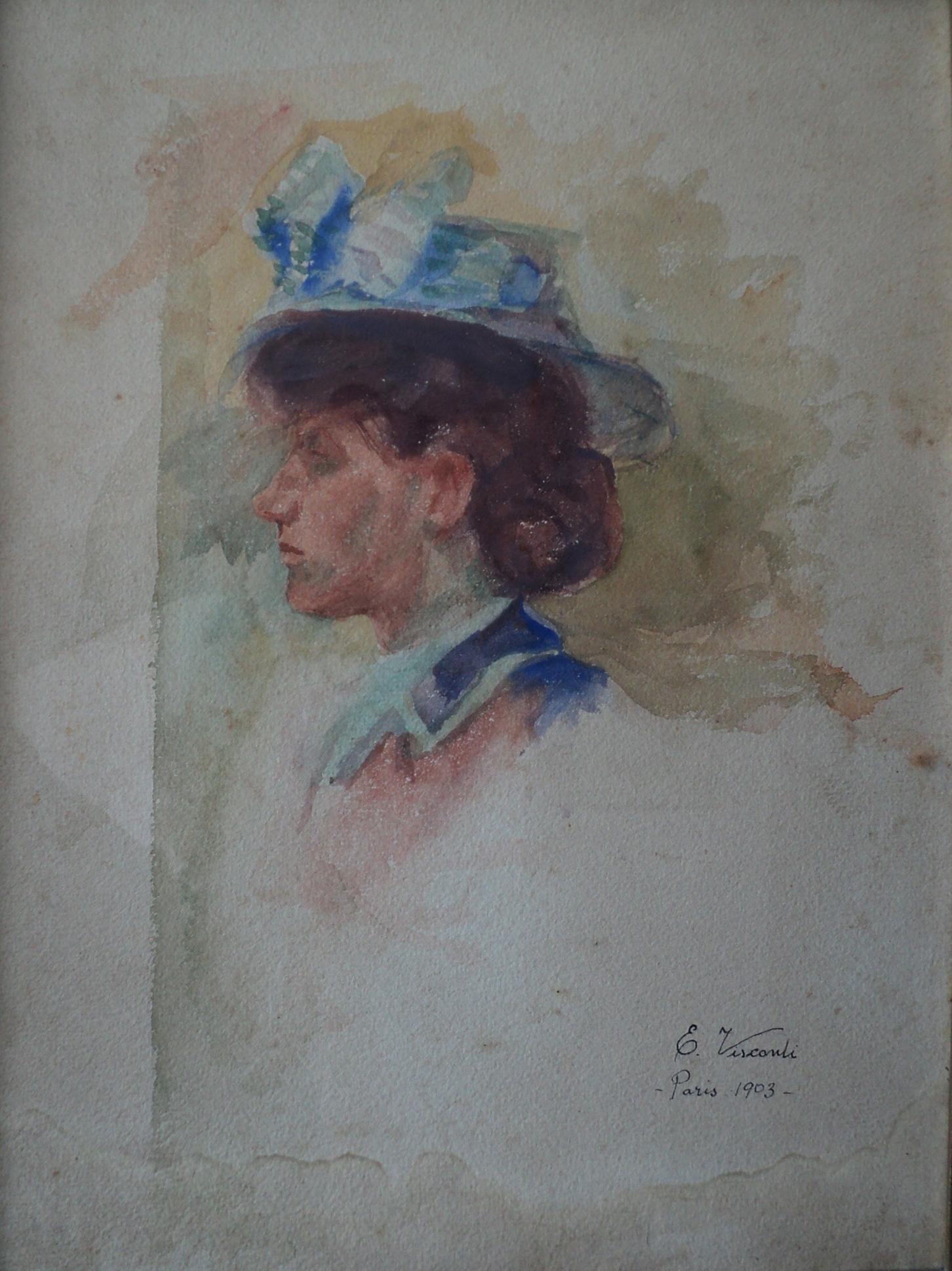 LOUISE - AQUARELA - 33 x 25 cm - 1903 - COLEÇÃO PARTICULAR