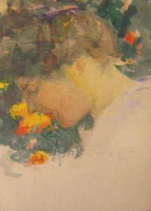 PERFIL DE LOUISE - AQUARELA - 35 x 26 cm - 1907 - COLEÇÃO PARTICULAR