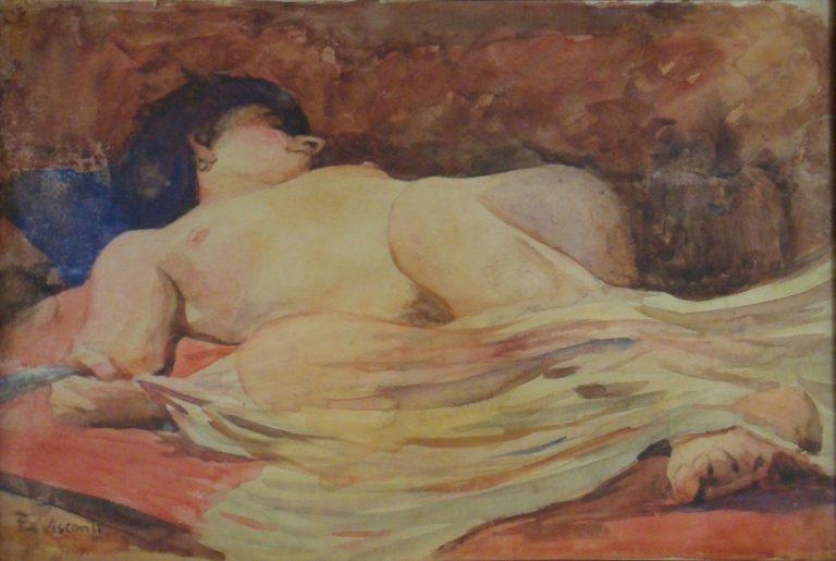 """NU EM ESCORÇO - ESTUDO PARA """"NU FEMININO COM VÉU"""" - AQUARELA - 21,0 x 28,5 cm - c.1910 - COLEÇÃO PARTICULAR"""