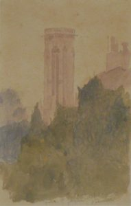 TOUR SAINT-JACQUES - AQUARELA - 26 x 17 cm - 1904 - COLEÇÃO PARTICULAR