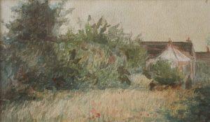 VIZINHANÇA EM SAINT HUBERT - AQUARELA - 14 x 25 cm - c.1917 - COLEÇÃO PARTICULAR