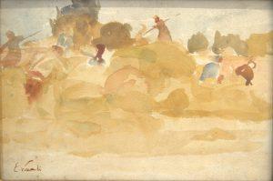 CAMPONESES NA COLHEITA DO FENO - SAINT HUBERT - AQUARELA - 19 x 28 cm - c.1916 - COLEÇÃO PARTICULAR
