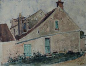TELHADOS DE SAINT HUBERT - AQUARELA - 22,5 x 29,0 cm - 1913 - COLEÇÃO PARTICULAR