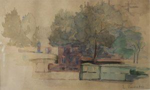 PAISAGEM EM SAINT HUBERT - AQUARELA - 16,0 x 25,5 cm - c.1913 - COLEÇÃO PARTICULAR
