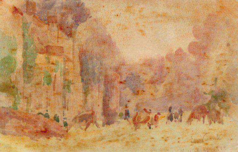 SAINT HUBERT - AQUARELA - 1919 - COLEÇÃO PARTICULAR