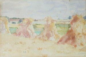 FENO EM SAINT HUBERT - AQUARELA - 25 x 17 cm - c.1916 - COLEÇÃO PARTICULAR