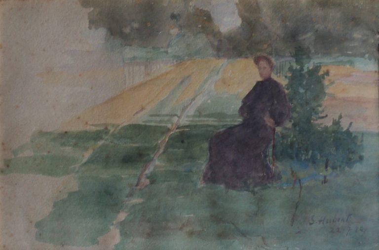 LOUISE EM SAINT HUBERT - AQUARELA - 16,0 x 25,0 cm - 1898 - COLEÇÃO PARTICULAR