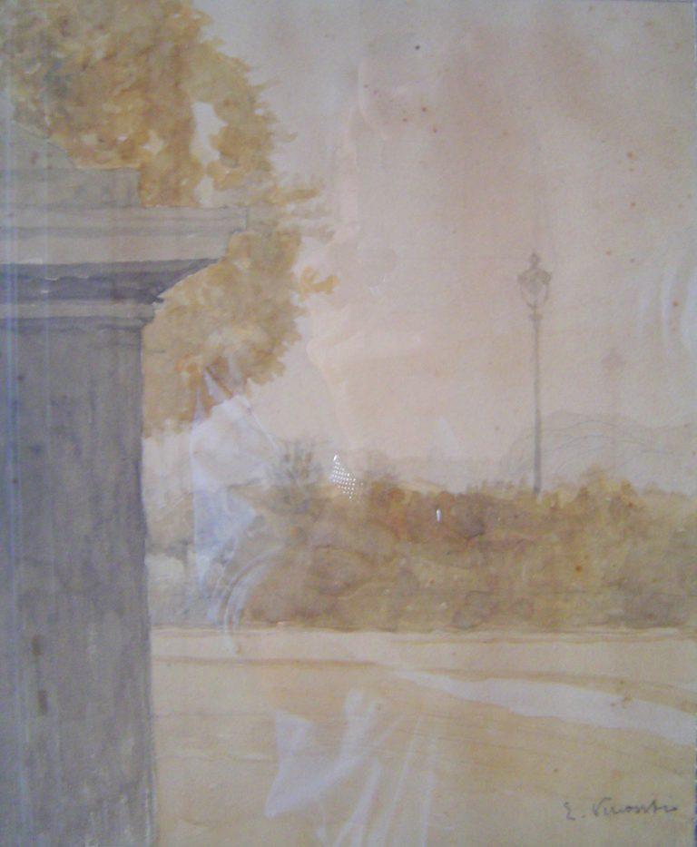VISTA DO PORTÃO - AQUARELA - 27,5 x 22,5 cm - c.1904 - COLEÇÃO PARTICULAR