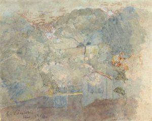PAISAGEM NO ANDARAÍ - AQUARELA - 19,5 x 24,0 cm - 1904 - COLEÇÃO PARTICULAR
