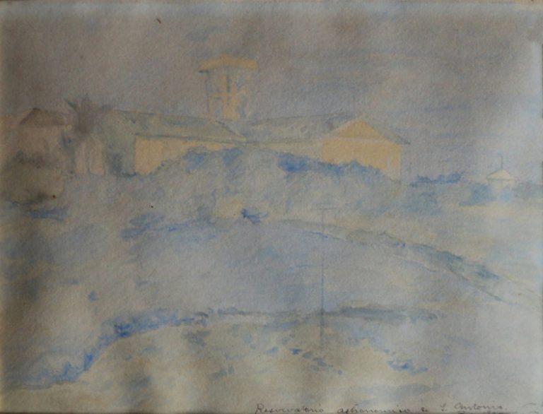 ANTIGO OBSERVATÓRIO NACIONAL - ESTUDO - AQUARELA - 20,0 x 24,0 cm - c.1903 - COLEÇÃO PARTICULAR