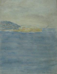 PAISAGEM DA BAIA - AQUARELA - 29,0 x 22,5 cm - 1903 - COLEÇÃO PARTICULAR