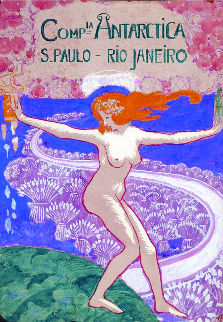 CARTAZ DA COMPANHIA ANTARCTICA - PROJETO PARA O PANO DE BOCA DO CASSINO ANTARCTICA - GUACHE E AQUARELA SOBRE PAPEL - 50 x 35 cm - c.1920 - COLEÇÃO PARTICULAR