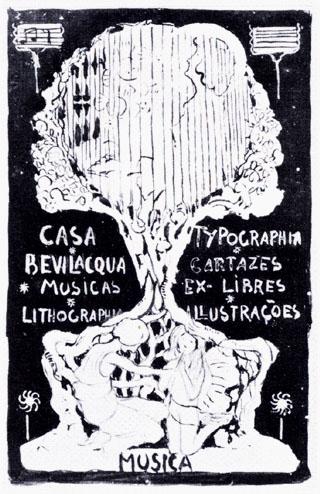 CARTAZ PARA CASA BEVILACQUA - ESTUDO - GUACHE SOBRE PAPEL - 20,5 x 13,0 cm - c.1901 - LOCALIZAÇÃO DESCONHECIDA